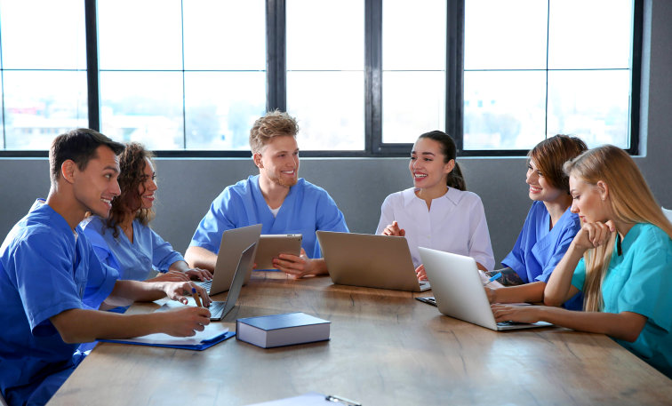 medical workers having a meeting